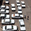 Aerial view of taxi rank in Rabat, Morocco - Stock Photo