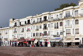 Cafes and shops at the waterfront buildings in Tangier, Morocco — Stock Photo