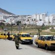 Taxis at the bus station in Tetouan, Morocco - Stock Photo