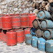 Stock Photo: Red and blue propane gas bottles in Morocco