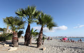Poniente beach in La Linea, Spain. Rock of Gibraltar in the background — Stock Photo
