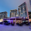 Building in Ocean Village marina at night, Gibraltar — Stock Photo