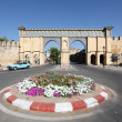 Traffic circle with flowers in Meknes, Morocco — Stock Photo