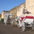 Stock Photo: Horse-drawn carriages in Meknes, Morocco, North Africa