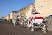 Horse-drawn carriages in Meknes, Morocco, North Africa — Stock Photo