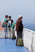 Passenger on deck of a ferry to Tangier, Morocco — Stock Photo