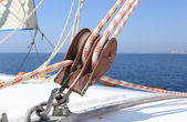 Sailboat winch on a white yacht — Stock Photo