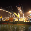 Container terminal in the port of Algeciras at night. Andalusia, Spain — Stock Photo