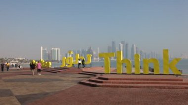 Slogans on the corniche of Doha, Qatar — Stock Video