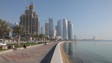 Corniche in Doha, Qatar — Stock Video
