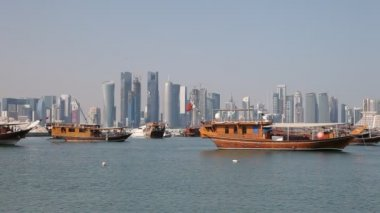 Traditional Dhows in Doha. Qatar — Stock Video