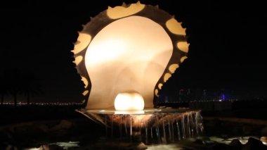 La perla fuente en doha, qatar — Vídeo de stock