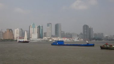 Ships at Huangpu River, Shanghai China — Stock Video