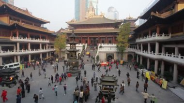 Jing'an-Tempel in shanghai, china — Stockvideo