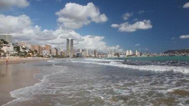 Beach in Benidorm, Spain — Stock Video