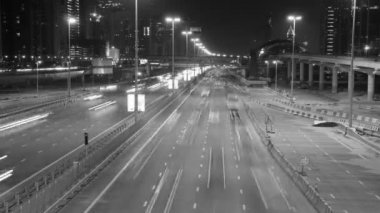 Sheikh Zayed Road highway in Dubai at night — Stock Video