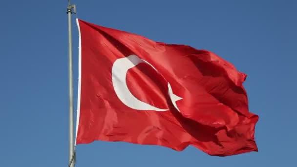 Bandera nacional de Turquía — Vídeo de stock