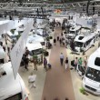 DUSSELDORF - SEPTEMBER 4: Modern Camper vans and caravans presented at the Caravan Salon Exhibition 2013 on September 04, 2013 in Dusseldorf, Germany. — Stock Photo