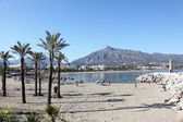 Beach in Puerto Banus, Marbella, Spain — Stock Photo