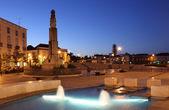 Main square in Tavira at night. Algarve, Portugal — Stock Photo