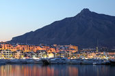 Puerto Banus at dusk, marina of Marbella, Spain — Stock Photo