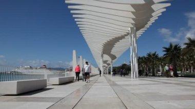 Promenade with a pergolain in Malaga, Spain — Stock Video