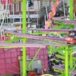 Fairground rides in an amusement park — Stock Video