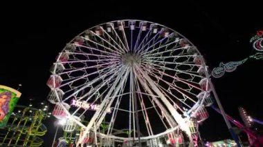 Ferris wheel in an amusement park — Stock Video
