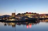 Puerto Banus at dusk, the marina of Marbella, Costa del Sol, Andalusia, Spain — Stock Photo