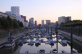 Marina in the Media Harbor (Medienhafen) in Dusseldorf, Germany — Stock Photo