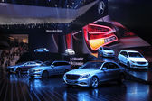 International Motor Show in Frankfurt, Germany. Mercedes Benz presenting new cars at the 65th IAA in Frankfurt, Germany, on September 17, 2013 — Stock Photo