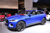 International Motor Show in Frankfurt, Germany. Jaguar presenting the new C-X17 SUV at the 65th IAA in Frankfurt, Germany on September 17, 2013 — Stock Photo