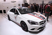 International Motor Show in Frankfurt, Germany. Mercedes Benz presenting new CLA racing car at the 65th IAA in Frankfurt, Germany, on September 17, 2013 — Stock Photo