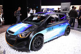 International Motor Show in Frankfurt, Germany. Hyundai presenting the i20 WRC Rallye Racing Car at the 65th IAA in Frankfurt, Germany on September 17, 2013 — Stock Photo