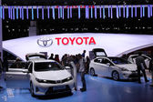 International Motor Show in Frankfurt, Germany. Toyota Stand at the 65th IAA in Frankfurt, Germany on September 17, 2013 — Stock Photo