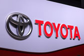 International Motor Show in Frankfurt, Germany. Toyota Logo at the 65th IAA in Frankfurt, Germany on September 17, 2013 — Stock Photo