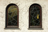 Wall with two windows — Stock Photo