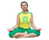 Senior woman practicing padmasana lotus pose — Stock Photo