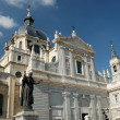 Cathedral of Almudena with the statue of Pope John Paul II in Madrid, Spain — Stock Photo