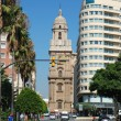 Street and the cathedral of Malaga, Spain — Stock Photo