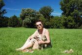 Lady with dog — Stock Photo
