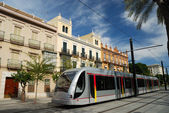 Modern urban railway in the city of Seville, Spain — Stock Photo