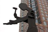 Estátua de um trabalhador em frankfurt, alemanha — Foto Stock