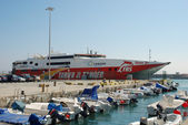 High speed ferry to Africa in the harbor of Tarifa, Spain — Stock Photo