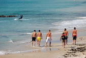 Surfers walking on the beach. Tarifa, Spain — Stock Photo