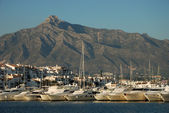 Luxury yachts in the harbor of Marbella, Spain — Stock Photo