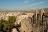 View over the city of Malaga with Ramparts of the Castillo de Gibralfaro, Andalucia Spain — Stock Photo