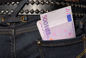 Five hundred euro notes in the jeans pocket — Stock Photo