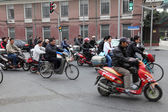 Mopeds in the city of Shanghai, China — Stock Photo