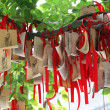 Paper prayers and wishes at Temple of Confucius in Shanghai, China — Stock Photo #32598169